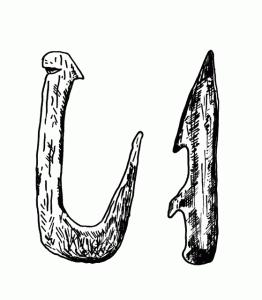 Рыболовный крючок и гарпун из кости