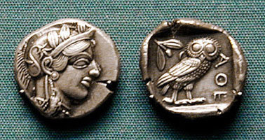 Монета древних Афин.